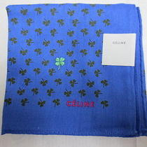 New Celine Handkerchief Three Leaf Clover Print and Embroidery Lucky Clover  Photo