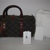 New Celine Logo Canvas Leather Brown Red Round Tote Bag Satchel Handbag Purse Photo