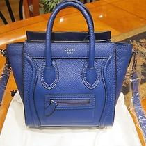 New Celine Nano Blue Indigo Drummed Leather Luggage Messenger Bag Photo