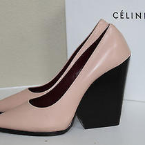 New Celine Nude Light Pink Pointy Toe Chunky Wedge Heel Pump Shoes Sz 9.5 / 39.5 Photo
