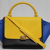New Celine Runway Sunflower Tricolor Small Trapeze Luggage Leather Bag Photo