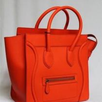 New Celine Small Mini Bright Orange Luggage Smooth Leather Tote Bag Photo