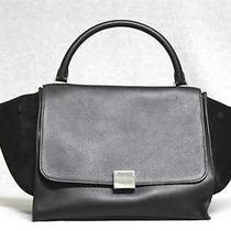 New Celine Small Trapeze Black Luggage Drummed Leather Winter Photo