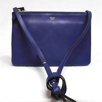 New Celine Trio Small Indigo Cobalt Blue Luggage Leather Messenger Bag Photo