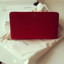 New Celine Vermillion Zip Around Drummed Calf Leather Wallet Clutch Bag Photo