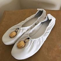 New Celine White Pendant Ballerina Flats Size 38.5 (Runs 39.5) 795 Photo