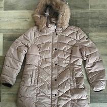 New Centigrade Faux Down Padded Chevron Coat Detachable Faux Fur Hood Blush Xl Photo