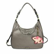 New Chala Sweet Tote Hobo Pewter Grey Gray Crossbody Shoulder Bag Pig Coin Purse Photo