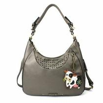 New Chala Sweet Tote Hobo Pewter Grey Gray Crossbody Shoulder Bag Cow Coin Purse Photo