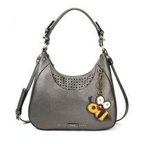 New Chala Sweet Tote Hobo Pewter Grey Gray Crossbody Shoulder Bag Bee Coin Purse Photo