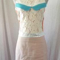 New Champagne & Strawberry Retro Blush Ivory Lace 60's Shift Mod Dress M Photo