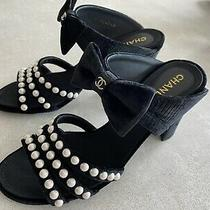 New Chanel Black Velvet With Pearls Open Toe Heels Mules Shoes Size 38 Photo