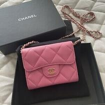 New Chanel Card Holder Clutch With Chain Pink Caviar Leather Mini Woc 21p Photo