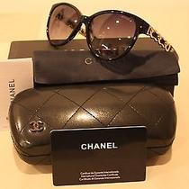 New Chanel Ch5215-Q C.501/3f Chain Collection Sunglasses Black Gold Photo