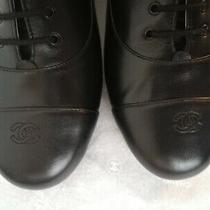 New Chanel Classic Black Lace Up Oxfords Shoes 40 Size Photo