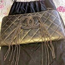New Chanel Clutch Bag Dark Gold Chain Fringe Purse Rare Photo