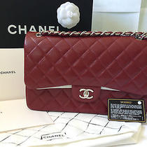 New Chanel Coco Caviar Red Classic Flap Jumbo Bag Purse Caviar Silver Handbag Photo
