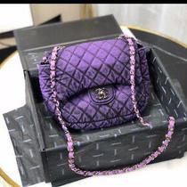 New Chanel Denim Purple Black Quilted Shoulder Hand Bag Chain Strap Purse 20cm Photo