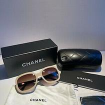 New Chanel Rectangle Sunglasses Light Beige Brown / Black Leather Cc Bow5280-Q Photo