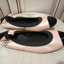 New Chanel Women's Ballet Flat Blush Pink/patent Black Leather Shoes Sz 39 Italy Photo