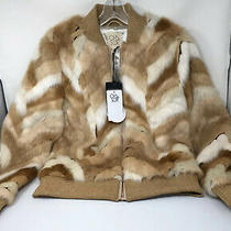 New Chaser Blonde Calico Faux Fur Zip Front Jacket / Coat Size Small Nwt 189 Photo