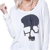 New Chasers Skull Top Glitter Edgy Rocker Chic Small S White Black Chasor Bolt Photo