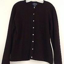 New Chelsea Campbell Size L Women's Acrylic & Wool Brown Cardigan Sweater Photo