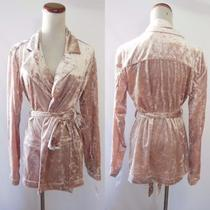 New Chelsea28 Blush Velvet Smoking Robe Blazer Tuxedo Cardigan Jacket S M Photo