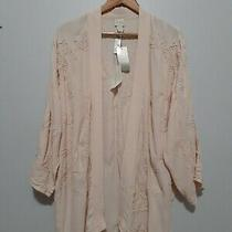 New Chico's Embroidered Kimono Jacket Size 2 Blush Pink Open Front 100% Rayon  Photo