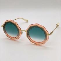 New Chloe Ce160s 739 Gold/green Gradient Round Metal Women Sunglasses Photo