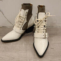 New Chloe Rylee Leather and Stretch Booties White Women 6.5 Us 36.5 Eu Msrp1340 Photo