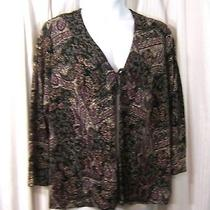 New Choices Woman Sz 2x Black Rose Gold Patchwork Print Open Front Shrug Top  Photo