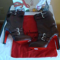 New Christian Louboutin Burgundy Leather Python Loubi Bike 120 Boots Sz 38 1/2 Photo