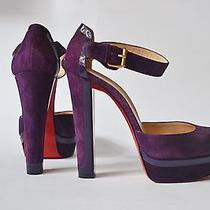 New Christian Louboutin Fashionable Purple Suede and Lacquered Leather Size 38 Photo