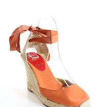 New Christian Louboutin Orange Canvas Ankle Tie Up Espadrilles Wedges Sz 36 6  Photo