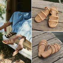 New Christy Dawn Monroe Triple Strap Slide Sandals Walnut Leather 8 238 Photo