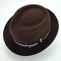 New Christys Crown Brown Fine Fur Felt Stingy Brim Fedora Hat Size 6 7/8 Photo