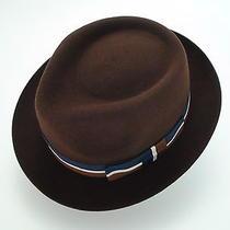 New Christys Crown Brown Fine Fur Felt Stingy Brim Fedora Hat Size 6 7/8 Photo