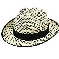 New Christys' Natural Beige Black Men's Size Small S Check Panama Hat 175- 497 Photo