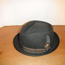 New Christys Wool Felt  Porkpie Fedora Hat Brown Diamond Crown Medium New Photo