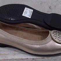 New Clarks Womens Candra Blush Gold Metallic Leather Flats Shoes 21613 Sz 7.5 M Photo