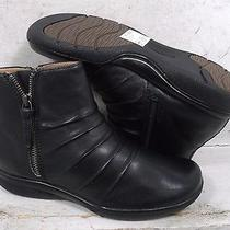 New Clarks Womens Kearns Blush Black Leather 10169 Ankle Boots Shoes Sz Mm 6 M Photo