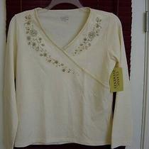 New Classic Element Embriod Womens Top 95% Cotton 5%Spandex Size S Nwt Cream Photo