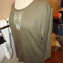 New Classic Elements Mossy Green Embroidered Top Sz Xl (18) Nwt 3/4 Sleeves Photo