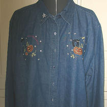 New Classic Elements Sz 16 Solid Blue Denim Casual Long Sleeve Cotton Shirt Top Photo