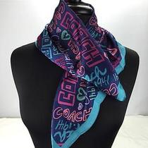 New Coach 100% Silk Blue Pink Purple Daisy Story Patch 20 X 20 Square Neck Scarf Photo