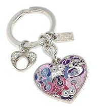 New Coach 2 Hearts Key Chain Fob Ring Pave Multi/pink/blue/purple/silver 92939 Photo