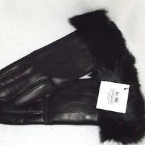 New Coach 228 Black Leather Gloves With Rabbit Fur Cuffs  Size 7 Medium  Photo