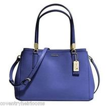New Coach 30128 Madison Christie Carryall in Saffiano Leather Lacquer Blue Photo
