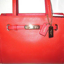 New Coach 34915 Small Swagger Pebble Orange  Leather Carryall Tote Bag Nwt 350 Photo